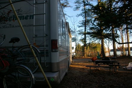 Our lakeside campsite at Colonial Mast in Naples, Maine