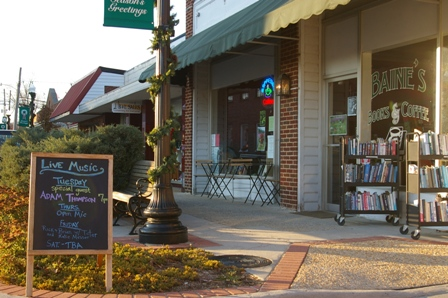 A nice welcoming sign at Baine's Books & Coffee ~ Appomattox, Virginia